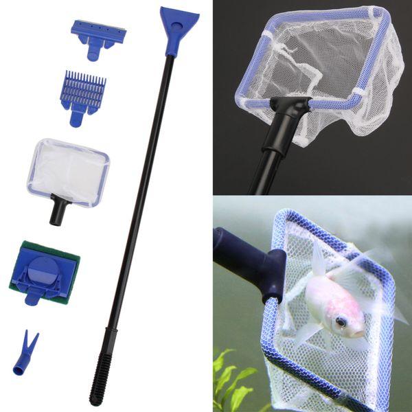 5pcs / set aquarium réservoir kit de nettoyage filet de gravier râteau algues grattoir fourchette éponge brosse verre nettoyage aquatique outils