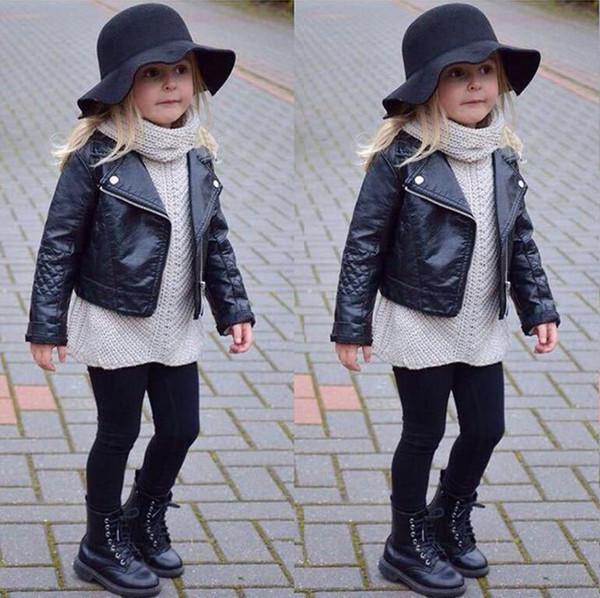 Großhandel Mädchen Faux Leder Look Jacke Größe 2 7 Motorrad Biker Mantel Mantel PU Lederjacke Baby Mädchen Kurze Kinder Jacke Von Tangyuan0117, $14.08