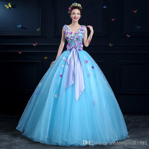 V-Neck Sexy Quinceanera Dresses 2017 New Stereo Color Petal Catwalk Evening Dress Gauze Perspective Formal Adult Beauty Prom Gown Plus Size