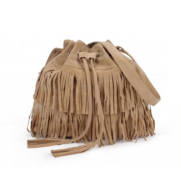 Gros-daim cordon seau sac femmes sac à main Faux frange gland épaule bandoulière Messenger Bag Boho