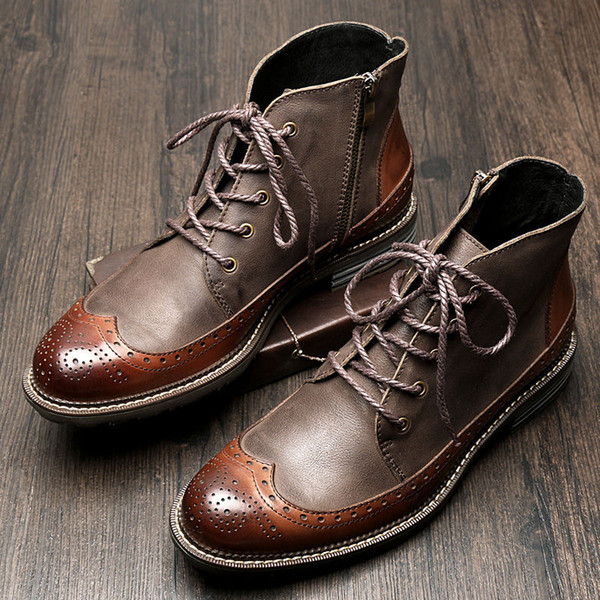 US6-9 Mens Genuine Leather British Style Lace Up Wing tips Martin Boots Casual Winter Formal Dress Oxfords Fretwork Boots Brogue Shoes