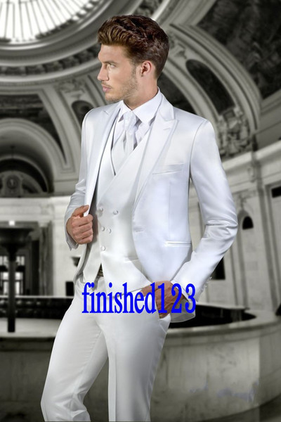 Smoking dello sposo Groomsmen One Button Shiny White Peak Risvolto Best Man Suit Wedding Blazer da uomo Abiti Custom Made (Jacket + Pants + Vest + Tie) K222