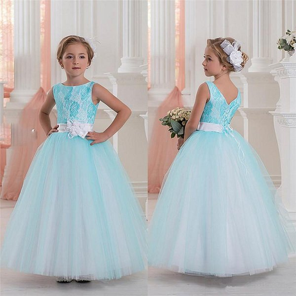 New Flower Girls Dresses For Weddings Illusion Neck Lace White Ivory Sashes Ruffles Party Princess Children Kids Party Birthday Gowns25
