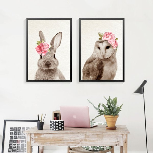 New Arrival Kawaii Animals With Flowers Rabbit For Art Prints Nursery Wall Picture Kids Room Decor No Frame Fg0089