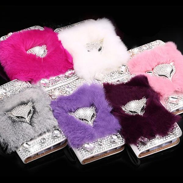 For Samsung galaxy G530 a3 a5 a7 2016 2017 grand prime Korea style Luxury Rabbit Fur Fox Diamonds Rhinestones wallet leather case cover