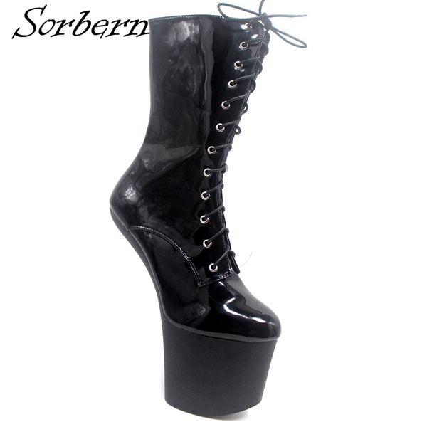 low priced c2ab9 9dd41 Großhandel Sorbern High Heels Stiefel Cosplay Stiefel Schnüren Keile Sexy  Schuhe Stiefeletten Billige Bescheidene Schuhe Plus Größe Von ...