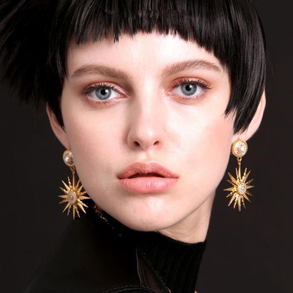 Nouvelle marque cristal Starfish boucles d'oreilles pour les femmes mode bijoux perle boucle d'oreille Brincos or soleil fleur boucle d'oreille Vintage Bijoux