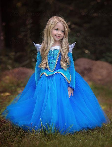 2017 Elegante principessa Dreamlike Gonna Aloha manica lunga blu rosa bambini Beautiful Cenerentola Dress per la cena di Natale Cosplay