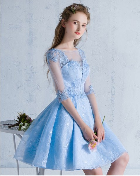 Elegant Blue Prom Dress Online Cheap Evening Gowns Formal Wear For Women Short Party Dresses Celebrity Special Occasion Dress Free Shipping