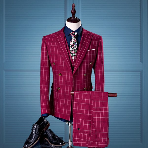 2018 2017 Double Breasted Men Suits With Pants Vest Plaid Red Wine ...