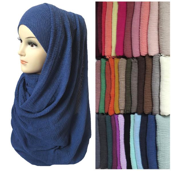Großhandel-Frauen Maxi Bubble Crepe Crinkled ausgefranste Hijab Schal Schal muslimischen islamischen Kopf wickeln Plain Solid Colors