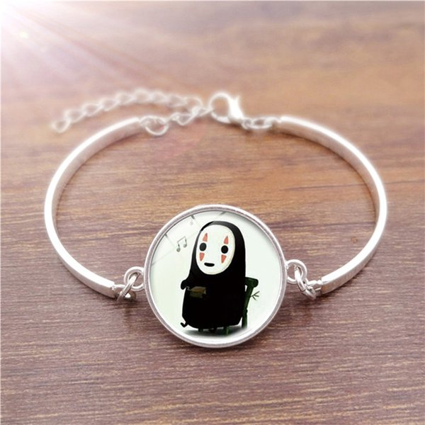 Free Shipping! 5pcs Vintage Jewelry with Silver Plated Glass Cabochon No Face man Pattern Charm Friendship Bracelet Bangle for Women Party