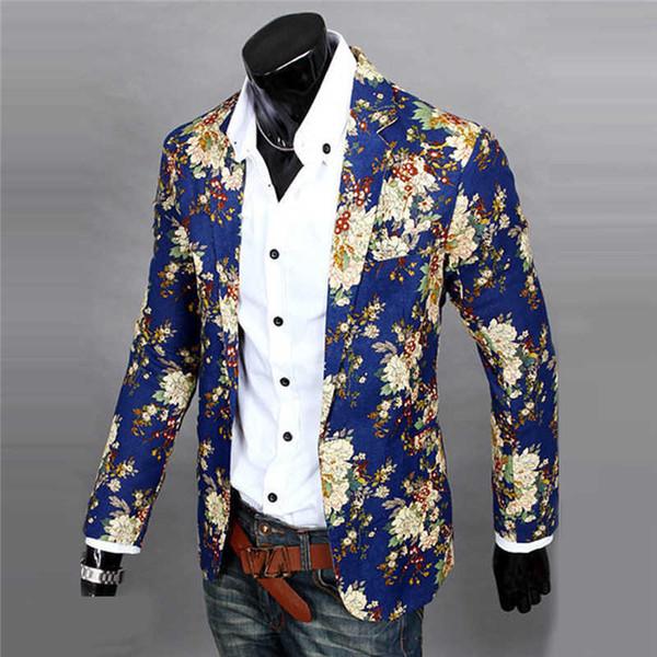 Gros- Mens Floral Suit Blazer Veste Manteau Slim Fit Imprimé Blazer Fleur Pour Hommes de Haute Qualité Casual Design En Gros 0168