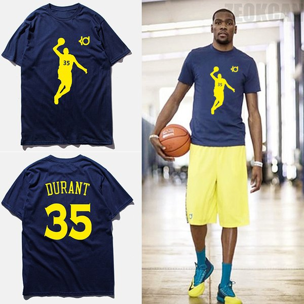 Fashion brand clothing t shirt men KD No.35 kevin durant basketball jersey blue short sleeves 100% cotton combed t shirts,tx2348