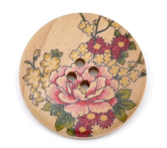 Wholesale Peony Flowers Pale Yellow Flowers Round Four Holes Wooden Buttons 30mm 60pcs Diy Clothing Fashion Wood Buttons