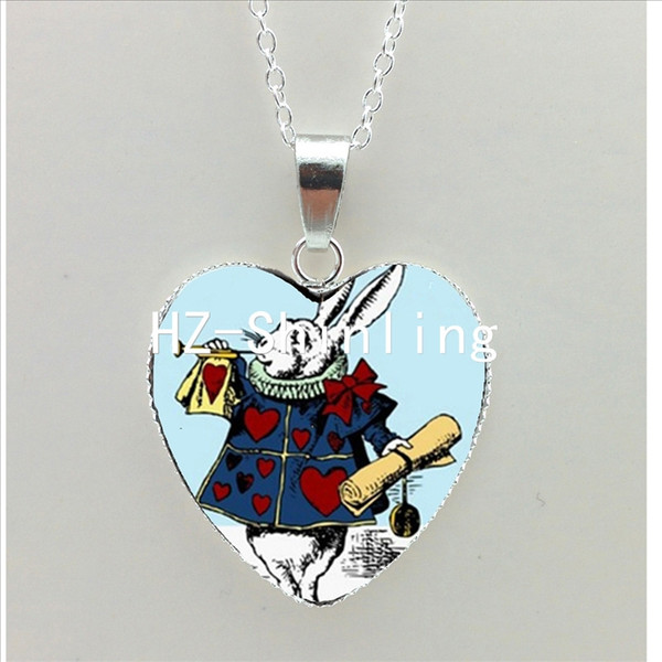 new alice in wonderland heart necklace cheshire cat pendant white rabbit heart jewelry silver heart shaped necklaces nht--0058