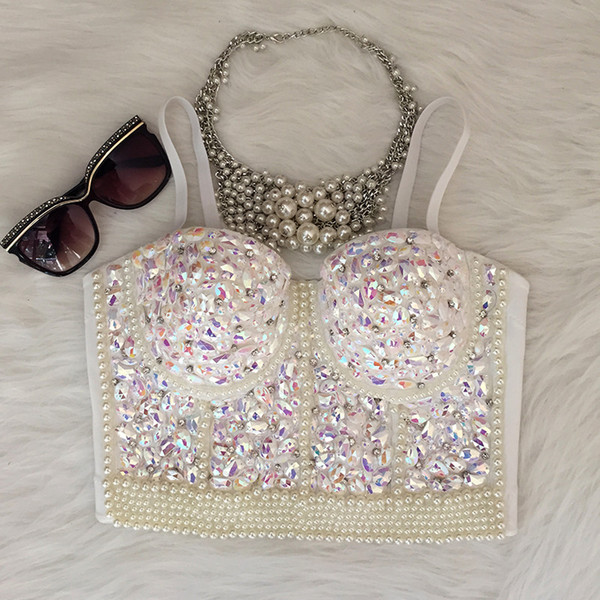 All'ingrosso Gorgerous Beads Perle con strass Bustier Push Up Wedding Bralette da donna Top corto Vest Plus Size