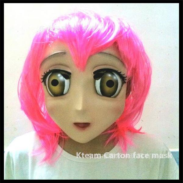 Top Grade latex Female Sweet Girl Half Head Kigurumi Mask With BJD Eyes cartoon Cosplay Japanese Anime Role Lolita Mask Crossdress Doll