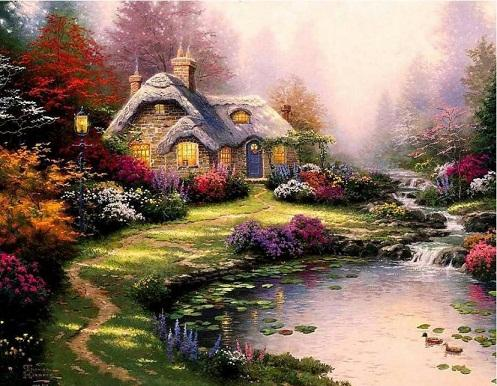 Framed everett's cottage,High Quality Genuine Hand Painted Thomas Kinkade Art oil Painting Thick Canvas Multi size Free Shipping Ls012