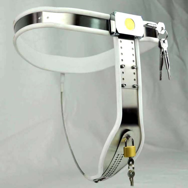 1 sets Female Adjustable Curve-T Stainless Steel Premium Chastity Belt with Locking Cover Removable WHITE color