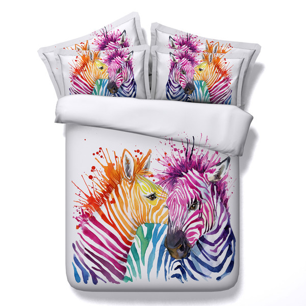 Animal Printed Bedding Sets 3D Colorful Zebra 4pcs Comforter Sets Queen King Size Duvet Cover Bed Sheet Pillowcases