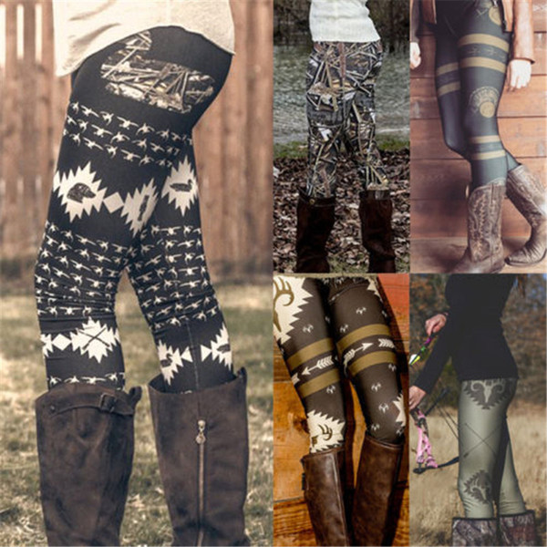 top popular Wholesale- Women Casual Slim Leggings Skinny Leggings Stretchy Autumn Winter Pants Clothes Exotic Printed High Waist Pencil Jeggings 2020