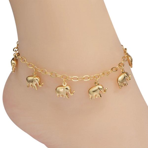 Mode Cheville Bijoux En Gros Mignon Éléphant Animal Design Plaqué Or pied bracelet Pour Femmes Ou Hommes Cadeau D'anniversaire A60004