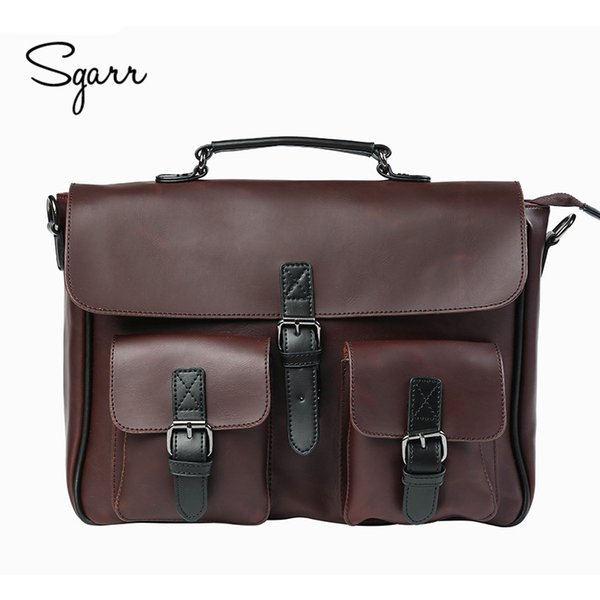 bbd605ee6a9 Wholesale- Crazy Horse PU Leather Men s Briefcase Vintage Men Messenger Bags  shoulder bag Men Business Handbags Contract Bags Laptop Bag