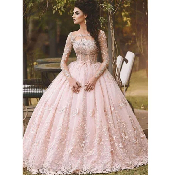 2017 Prom Dresses Ball Gown Off Shoulder Pink Lace Appliques Flowers Beads Illusion Bow Sheer Long Sleeves Sweet 16 Party Prom Evening Gowns