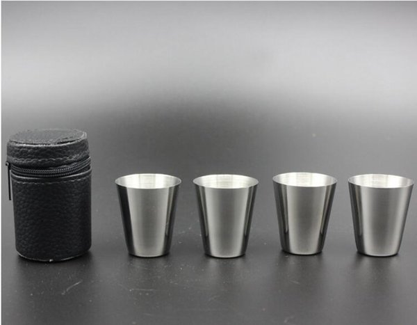 New 4Pcs/Set 30ML Mini Stainless Steel Cup Set Wine Beer Glass Outdoor Camping Drinking Tools Each Set In Zipper Leather Case