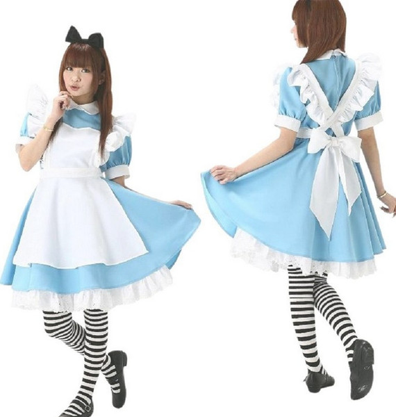 best selling Alice in Wonderland French maid Dress Apron Dress Sexy Costumes includes 4 colors