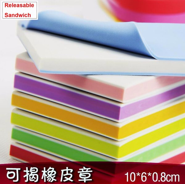 Wholesale- (11 pcs/lot) 10*6*0.8CM DIY rubber stamp carving blocks / DIY for your own idea art stamps Releasable- 11 colors mix