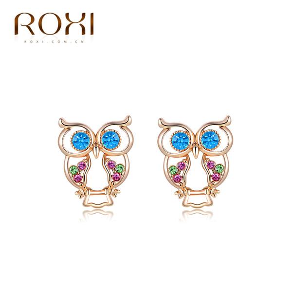 ROXI Brand Top Quality Crystal CZ Fashion Luxury Zircon Rose Gold Color Owl Pendant Women Ear Stud Earrings Elegant Earring