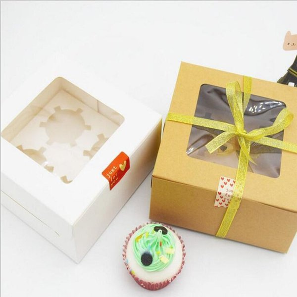 kraft and White Card Paper Cupcake Box 4 Cup Cake Holders Muffin Cake Boxes Dessert Portable Package Box Tray Gift Favor