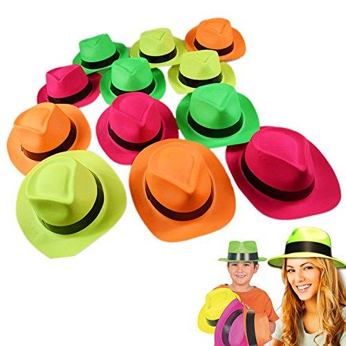 Neon Plastic Gangster Hats Dress Up Toy, Party Favor & Accessory For Photo Booths & Themed Parties - Assorted Colors