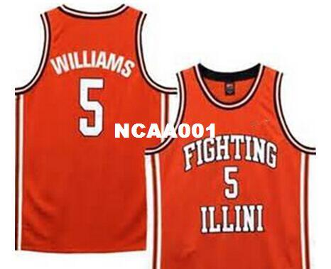 cheap Men #5 Deron Williams Fighting Illinois College Jersey White,orange,or customize Any number Men's Stitched Jersey