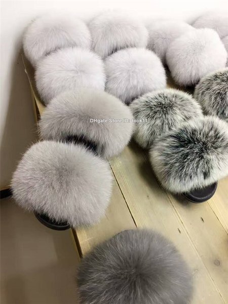 Wholesale summer fashion women fox fur slippers 8colors fur home outdoor slides plush fuzzy slippers flat heel shoes beach unicornio rihanna