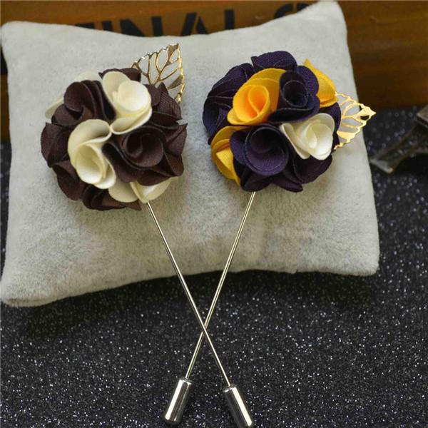 BoYuTe 10Pcs Fashion Fabric Gold Leaf Flower Brooch Pins Handmade Lapel Pin for Men Wedding Jewelry Christmas Decorations