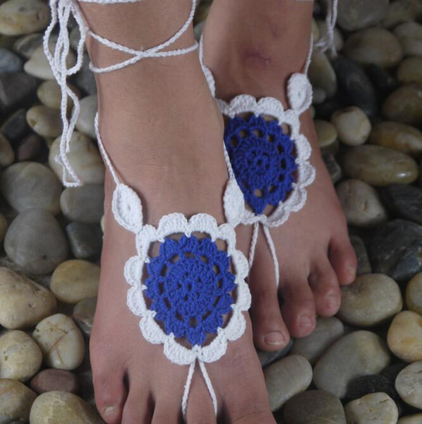 bed141e0b6277 2019 Gothic Barefoot Sandals White With Hot Pink Handmade Crochet ...