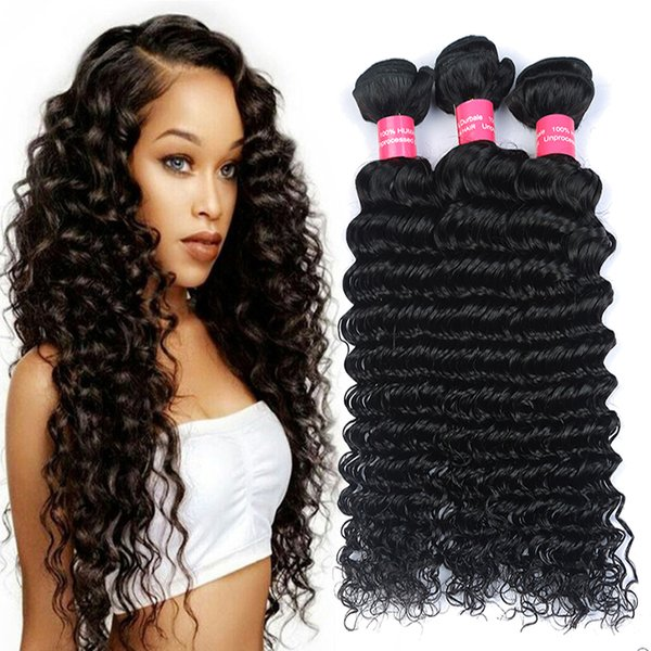 8A Unprocessed Brazilian virgin bundles Deep Wave Curly Hair Weft 3/4 pcs/lot Human Hair Peruvian Indian Malaysian Hair Extensions Dyeable