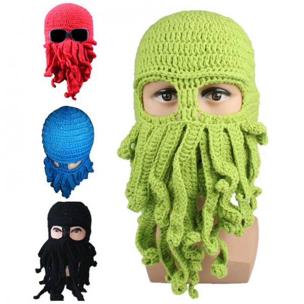 Novelty Handmade Knitting Wool Funny Beard Octopus Hats Caps Crochet Knight Beanies halloween Unisex Gift