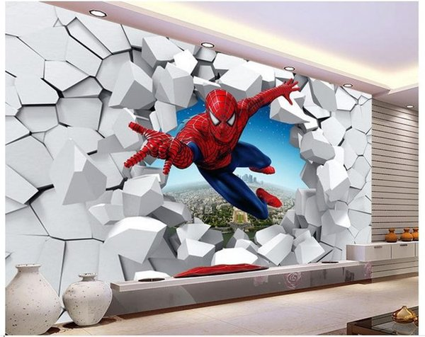 top popular Large murals 3 d spiderman, batman, iron man personality background cartoon wallpaper wallpaper murals children room 2019