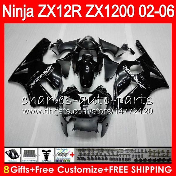 8Gifts 23Colors для Кавасаки ниндзя ZX 12 Р ZX12R 03 04 05 06 52HM1 черный глянец с 1200 ZX1200 ZX и ZX и ZX в 12Р-12Р 2003 2004 2005 2006 обтекатель