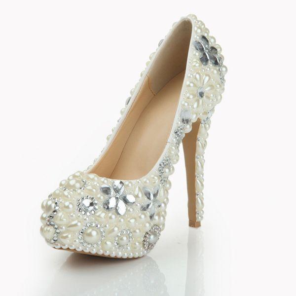 2017 Pearl Shoes Bridal Wedding Party Shoes Nightclub Stiletto