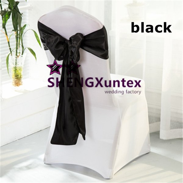 Mix Order \ White Color Lycra Spandex Chair Cover And Black Satin Chair Sash \ Chair Cover