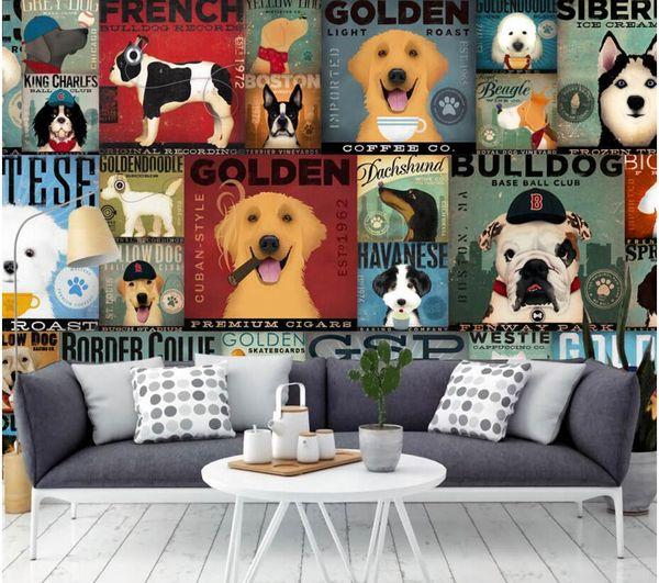 3d Wallpaper Custom Photo Mural Cartoon Funny Dog Illustrations Living Room Painting 3d Wall Murals Wallpaper For Walls 3 D Hd Widescreen Wallpapers