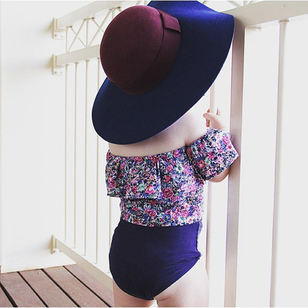 New INS Clothing Sets Baby Girls Floral Printing Sets Off Collar T-shirt+Triangular Pants Kids Toddler Infant Casual Clothing Outfits 2017