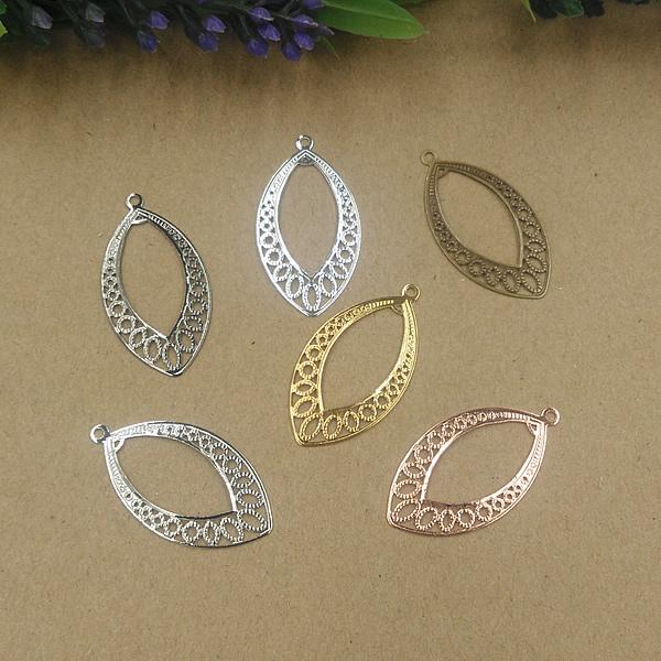 08054 20*37mm Mix antique bronze/silver/rose gold/gun black filigree flower charms for jewelry making, vintage oval metal bracelet pendants