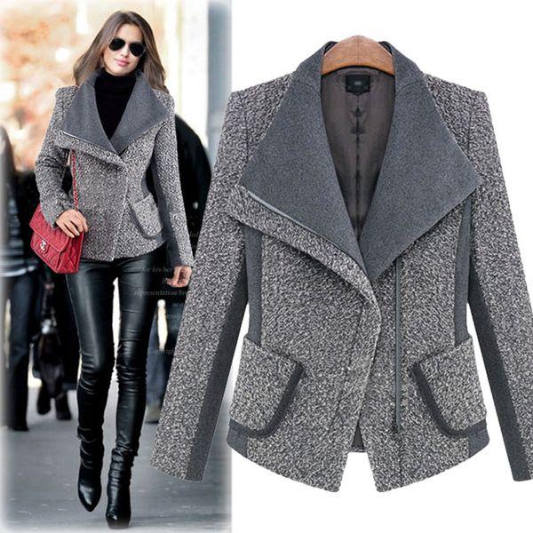 New Autumn coats woman are thin woolen jacket long sleeves short winter coat fashion casacos female lapel keep warm womens wool coats
