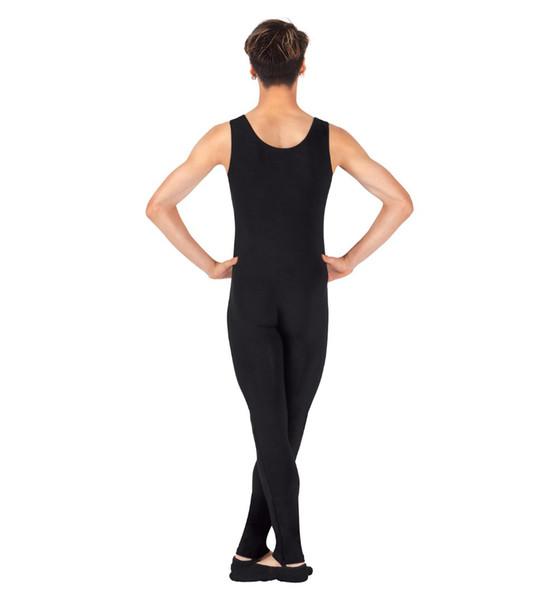 One Piece Black Tank Unitard Men Lycra Ballet Sleeveless Full Body Tight Jumpsuit Unitards Dance Costumes Unitards Bodysuit